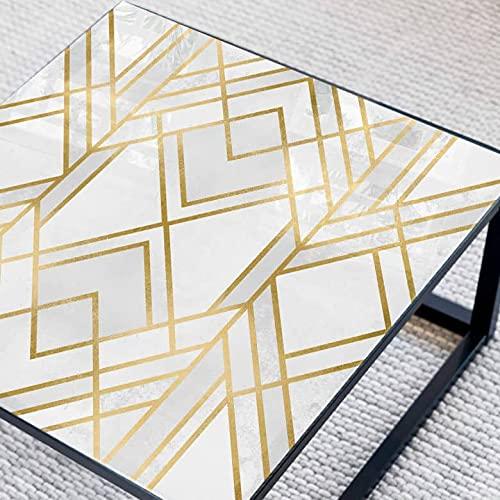 Fredriksson Art Deco - Mesa de noche cuadrada (cristal), diseño geométrico dorado