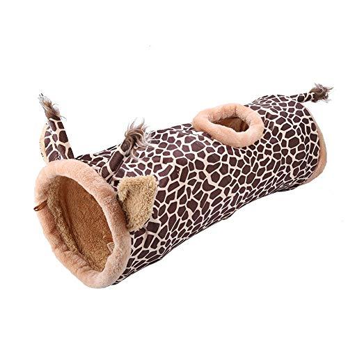 OKBY Tunel para Conejos - Juguete De Túnel Tela Plegable Portátil Seguro Mascota Gato Perro Conejo(Giraffe)
