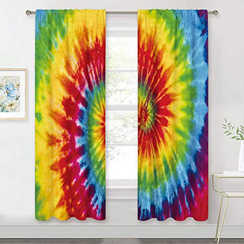 MESHELLY Tie Dye Curtains Rainbow for Bedroom 2 Panels 42 (W) x 63(H) Inch Rod Pocket Kids Colorful Spiral Psychedelic Trippy Hippie Swirl Pattern Cute Funny Living Room Window Drapes Treatment Fabric