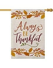 AVOIN Always be Thankful Garden Flag Vertical Double Sized, Fall Thanksgiving Harvest Yard Outdoor Decoration 12.5 x 18 Inch