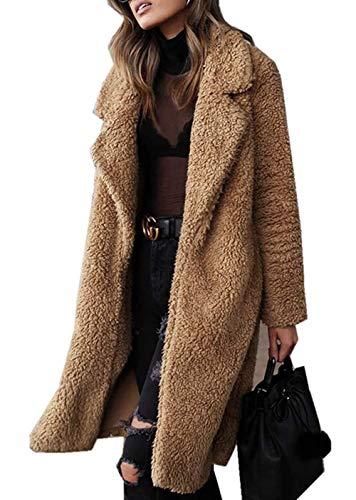 Damesjas, cardigan jas, eenkleurig, pluche, revers, faux wol, warm, winterjas, modieuze completiparka, mode 2019, dames kleding