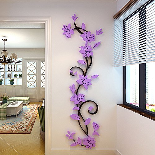 Sticker Deajing DIY Flores Cristal Arcylic 3D Pegatinas de pared Calcomanía Decoración Vinilos Decorativos para el hogar Salon Hogar Etiqueta Comprar Calcomanías de Windows (Púrpura)