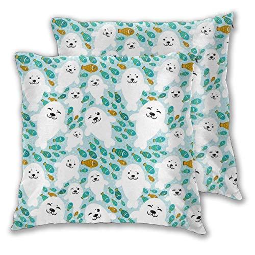 Vissen en wit babyzegel dier in blauw water dagelijkse decoratie bank slaapkamer autokussen cover rits kussensloop set van 2