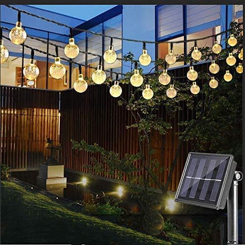 Vivibel LED Solar Lichterkette mit LED Kugel 6.5M 30 LEDs 8 Modi IP65 Wasserdicht Lichterkette mit Lichtsensor, Kristallbälle Beleuchtung für Garten Terrasse Hof Haus Party (Warmweiß)