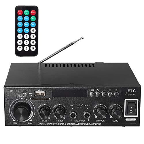 PORZOR Mini Amplificatore Audio Stereo Bluetooth 5.0 con Display LCD Retroilluminazione HiFi Amplificatore Audio Wireless con Telecomando IR Supporta SD USB FM MIC per Auto Moto Mp3 Mp4 Computer