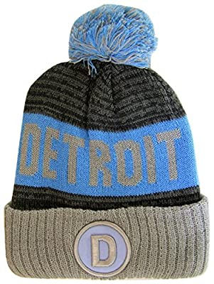 Detroit D Patch Ribbed Cuff Knit Winter Hat Pom Beanie