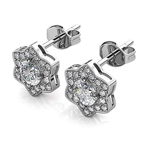Silber Ohrringe   Ohr-Schmuck   Mit Swarovski Steinen   925 Sterling Silber   Vergoldet mit 18K Weißgold   Princess