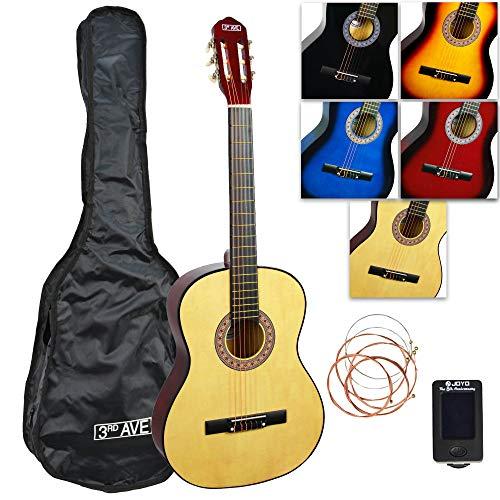 3rd Avenue Gitarrenset Klassische Gitarre in 3/4-Größe, mit Tasche, Saiten und Stimmgerät – Natur