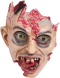 Halloween Skeleton Rot Scary Skull - Skull Bones Life Size Cry Zombie - Skull Haunted House Escape Horror Props Decorations - Animated Eaten Head and Brain Out Zombie Theme Decor (10x7 inch)