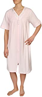 Women's Short Waffle Knit Zipper Robe, with Short Sleeves, and a V-Neckline