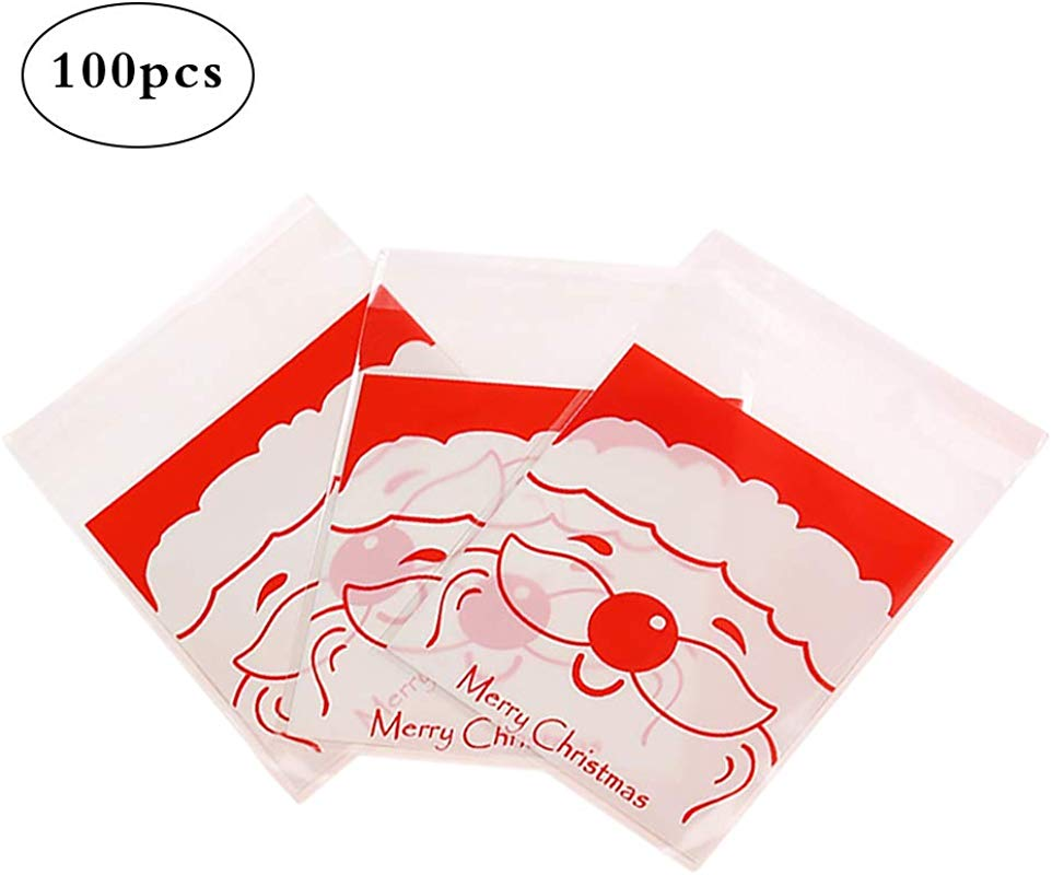 Hosaire 100 Pieces Christmas Plastic Bag Self Adhesive Eco Friendly PET Bags For Bakery Sweets Soap Cookies