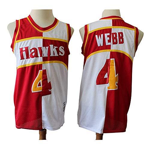 YB-DB NBA Basketball Jersey Atlanta Hawks 4# Spud Webb Hemd Sleeves Basketball Jersey Breathable Art und Weise Basketball Vest Men,S
