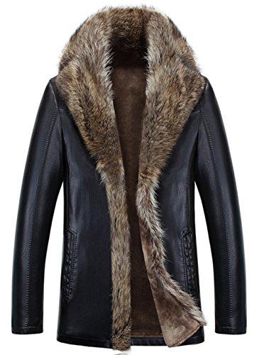 YYZYY Homme Haute qualité Luxe Cuir Fourrure Manteau Hiver Épais Chaud Manteau Parka Veste Raccoon Fourrure Mens Fur Leather Coat Jacket (EU/DE XXX-Large, A1080/Noir)