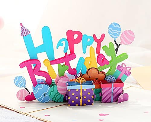 Pop-Up Karte Blumen, Handgemachte 3D Pop Up Grußkart für Freundin, Frau, Mutter oder Kinder, Einzigartiges Design Für Geburtstag, Valentinstag Karte, Graduierung, Hochzeitstag (Geburtstags ballons)