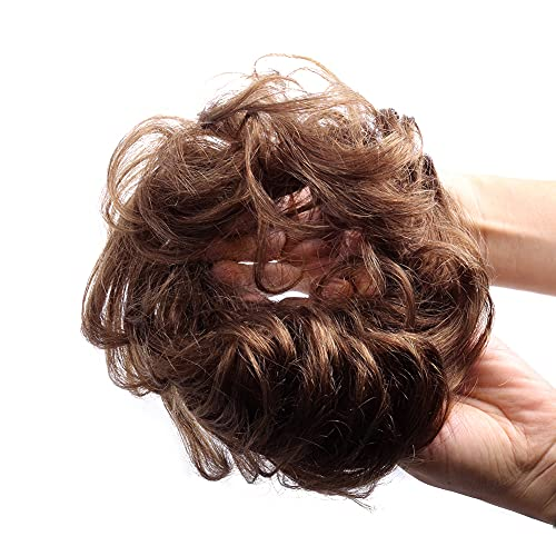 Bella Hair 100% Human Hair Scrunchie Messy Bun Up-Do Hair Piece Wavy Curly Ponytail Extensions (#2 Dark Brown)