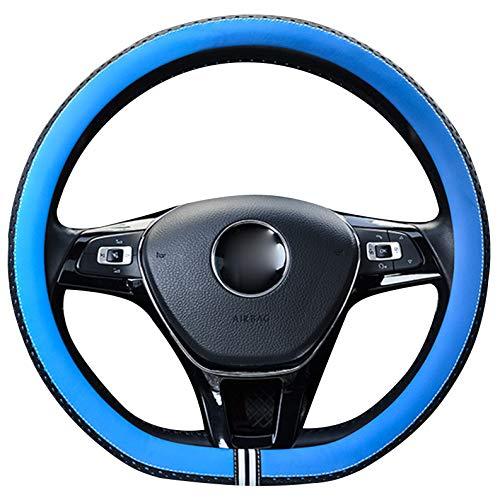 XuanMax Universal D Forma Fundas para Volante de Coche Cuero PU 38cm Antideslizante Cubierta del Volante 15 Pulgadas Respirable Cubre Volante Piel - Azul