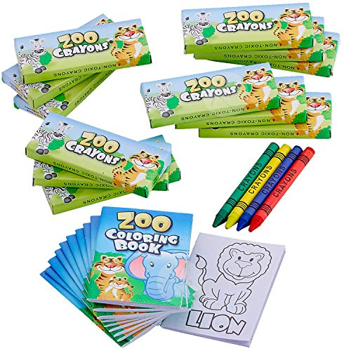 Kicko Zoo Animal Coloring Book Set - 12 Pieces of Jungle Activity Sheets - Perfect for Pastimes, Educational, School Supplies, Sensory Tools, Party Favor