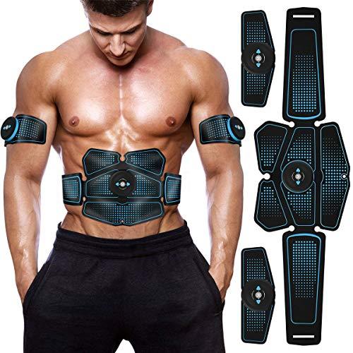 RIIMUHIR EMS Muskelstimulation, Professionelle USB Bauchmuskeltrainer, Tragbarer Bauchmuskeltrainer Fitness Geräte, Bauch Muskel Elektrostimulatoren für Damen Herren (Blau)