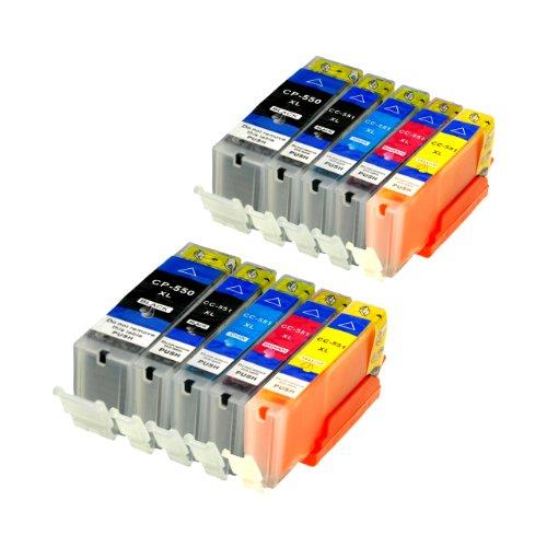 10 Druckerpatronen für IP7250 MG 5450 MIT CHIP und Füllstandanzeige für Canon Pixma MG6350, MX725, MX925, kompatibel zu PGI550BK, CLI551C, CLI551M, CLI551Y und CLI551BK