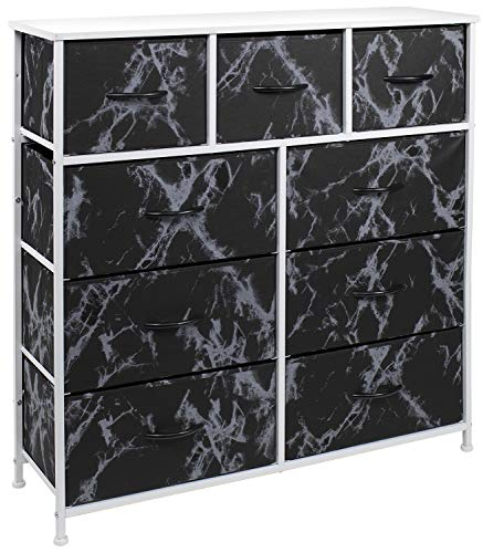 Lowest Prices! Sorbus Dresser with 9 Drawers – Furniture Storage Chest Tower Unit for Bedroom, Hallway, Closet, Office Organization – Steel Frame, Wood Top, Fabric Bins (Marble Black – White Frame)