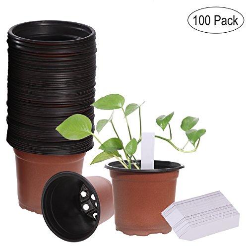 OUNONA 100pcs Blumentopf Pflanzt?pfe mit 100pcs Pflanzen Tags,Pflanzkübel Seed Start T?pfe und Nursery Garden Etiketten