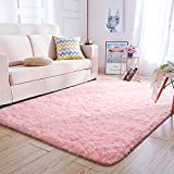 Super Soft Kids Room Nursery Rug 5' x 8' Pink Mordern Indoor Fluffy Area Rugs for Bedroom Living Room Baby Girls Boys Floor Carpets by VaryCarry