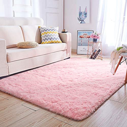 Super Soft Kids Room Nursery Rug 4' x 6' Pink Area Rug for Bedroom Decor Living Room Floor Carpets Fur Mat by VaryCarry