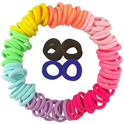 Hair Ties for Toddlers 100 PCS Cute 10 Colors 1.25 Inch Mini Seamless No Pull Small Size Hair Bands Ponytail Holder YYM