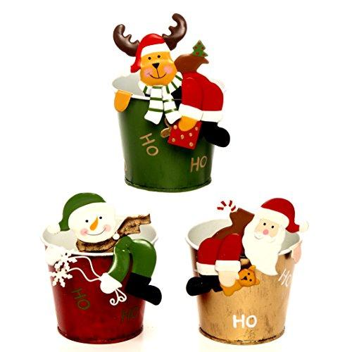Mopec nm9370–Cubi di Metallo di Babbo Natale, Pupazzo di Neve e Renna, Colore: Verde e Rosso
