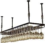 GAXQFEI Cubiertas Negras para Copas/Botella de Vino, Colgadores para Decoración de Copas para el Hogar Y la Barra de la Cocina, Altura Ajustable: 30-60 cm (90X35Cm)