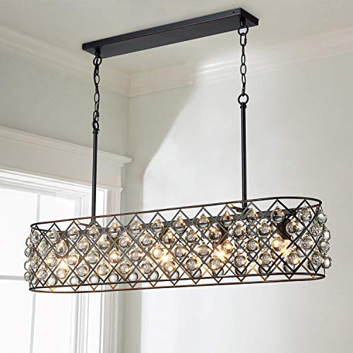 Saint Mossi Antique Bronze Frame with Clear Crystal Glass Chandelier Lighting 43' inch Length Linear Chandelier for Kitchen Island, Dining Room Raindrop Crystal Chandeleir, Mossinal Collection