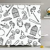AdaCrazy Diamant Harry Verschiedene Hexe Ausrüstung Muster Schädel Potter Vogelkäfig Magic Bar Besom Design Mikrofaser Badezimmer Duschvorhang Moderne Badezimmer Vorhang 71 x 71 Zoll
