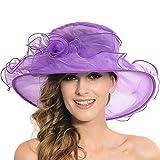 Sombrero de sol para mujer - Organza floral Plano Gran ancho Ala Gasa Gorra de Kentucky Derby - Sombrero plegable de sol para el verano de la Iglesia Fiesta de bodas en el Derby de Kentucky Viajes de