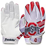 Franklin Sports Ohio State Buckeyes Youth College Football Receiver Gloves - Receiver Gloves for Kids - NCAA Team Logos and Silicone Palm - Youth S/XS Pair