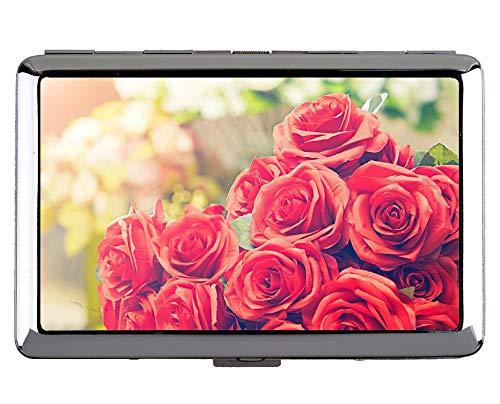 Zigarettenetui King Size, rote Rose Rose Blume Edelstahl-Kartenhalter