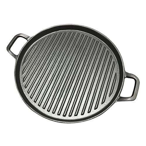 FENXIXI 30 cm espesado de hierro fundido de hierro de hierro freír pan barbacoa Placa de la parrilla Placa Griddles carne asado Cabina sin marco de cocina sin estructura
