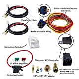 TIKSCIENCE Dual Electric Cooling Fan 185/175 Degree Champion Engine Fan Thermostat Temperature Switch 40 amp Relay Kit, Fan Pigtail Connectors Included