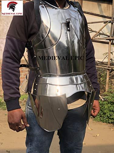 Disfraz medieval de armadura de caballero de acero listo para batalla
