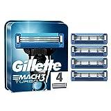 Gillette Mach3 Turbo Cuchillas de Afeitar Hombre, Paquete de 4 Cuchillas de Recambio