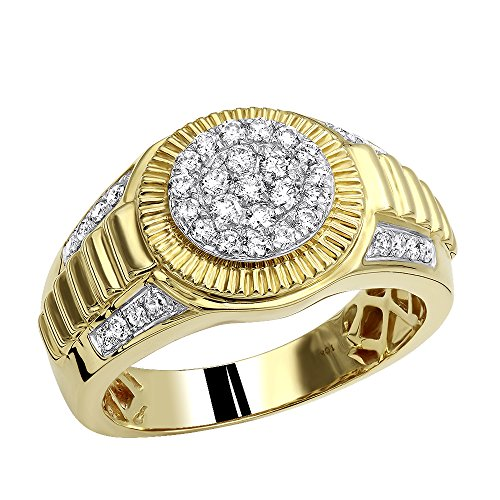 10k Gold Men's Cluster Diamond Band Jubilee Ring 0.75ctw (Yellow Gold, Size 9)