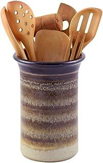 American Made Stoneware Pottery Countertop Utensil Holder Jar in Mocha Cream