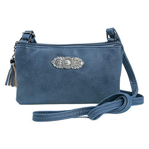 Trachten: Tasche in Leder-Optik mit Ornamentbrosche, Trachtencluch, Oktoberfest Tasche zum Dirndl (blau)