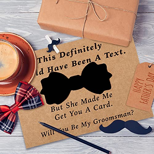 8 Pieces Groomsmen Proposal Cards with Tie and Envelope, 7 Will You Be My Groomsman Cards and 1 Will You Be My Best Man Asking Card Invitation Funny Groomsman Cards for Wedding, 7 x 5 Inch Photo #7