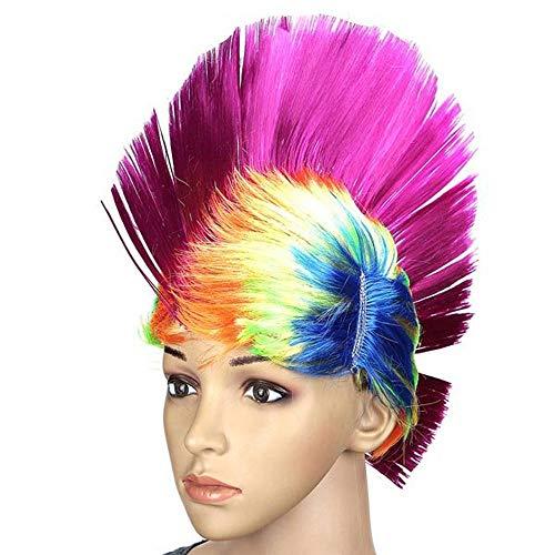 Asffdhley Synthetische Perücken für Frauen Fantasie-Partei-Mohikaner Rocker Perücken Halloween Perücke Bunter Karneval Mohawk Perücke für die tägliche Party (Color : Pink, Size : One Size)