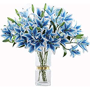 LNHOMY 6 Pack Artificial Lily Flowers Full Bloom Fake Latex Real Touch Artificial Flower Bouquets with 3 Heads Wedding Party Decor Home Décor
