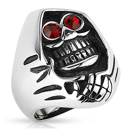 Bungsa® 70 (22.3) Sensenmann Totenkopf Fingerring Edelstahl für Männer 60 62 64 67 70 72 (Ring Herren Edelstahlring Herrenring Männerring Biker Harley Easy Rider SOA Sons of Anarchy Grim Reaper Skull