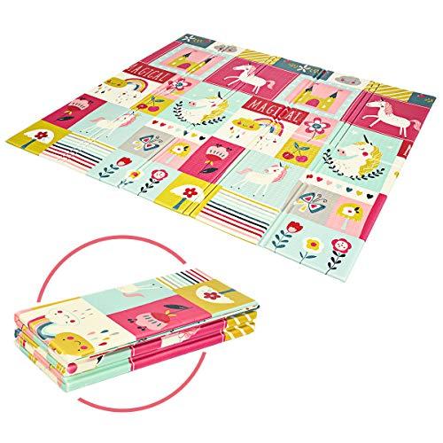 COSTWAY Baby Spielmatte faltbar, Babymatte doppelseitig, Krabbelmatte aus XPE Material, Krabbeldecke, Spielteppich für Babys, Säuglinge und Kleinkinder, 200 x 180 cm (Rosa)