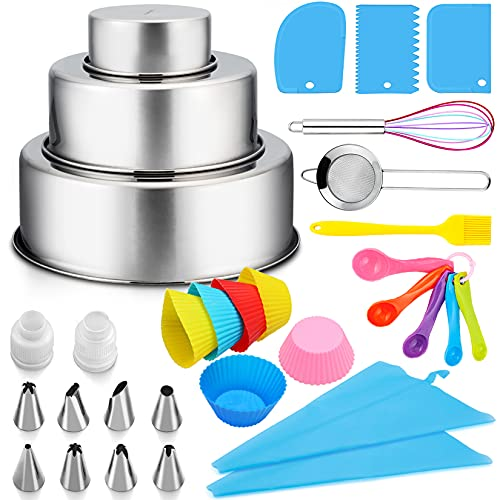 Cake Decorating Supplies Kit, P&P CHEF 32 Pcs Cake Baking Decoration Tools for Beginners, 4/6/8 Inch Cake Pan, 8 Piping Icing Tips and 2 Bags, 3 Scrappers, Mesh Stariner, 6 Muffin Cup and Brush