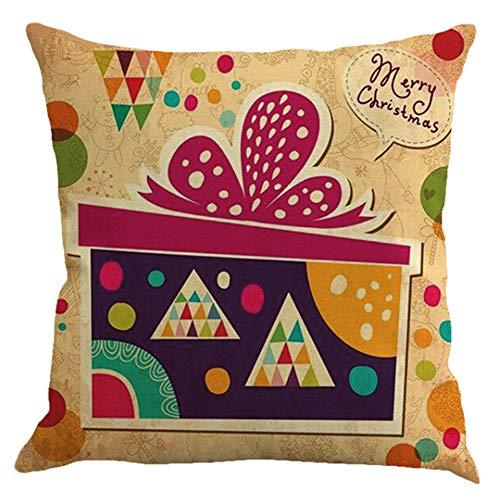 Impression de Noël couvre-oreillers de jet mis Couvre-oreillers en toile pour décorations de Noël, Coussins pour le décor de voiture de fête à la maison avec canapé invisible, eh \ w: 18 in * 18in