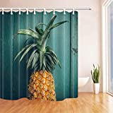 RP Amazing Ananas-Duschvorhänge, Ananas auf rustikalem Türkis-Holz, Polyester-Gewebe-Badvorhänge für Badezimmer